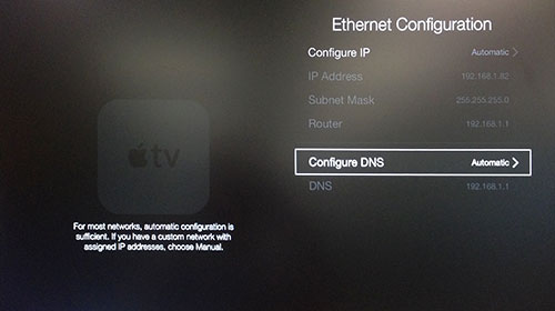 Menu de configuration Ethernet Apple TV avec Configurer DNS mis en surbrillance.