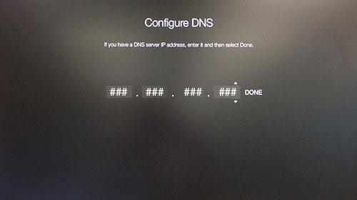 Schermata Configure DNS Apple TV in attesa dell'indirizzo IP.