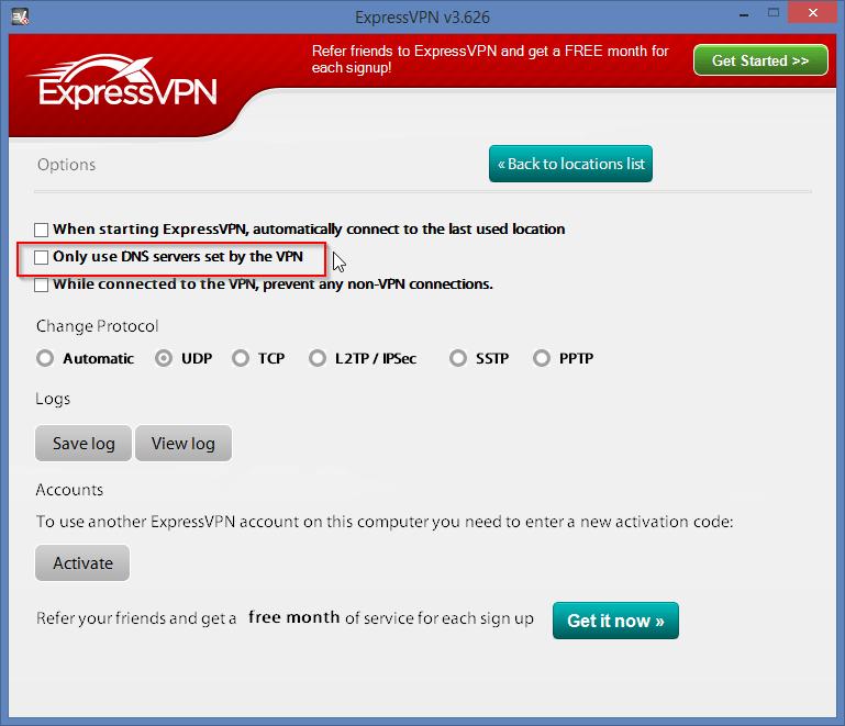 expressvpn options