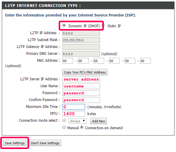configure your l2tp settings for your d-link router