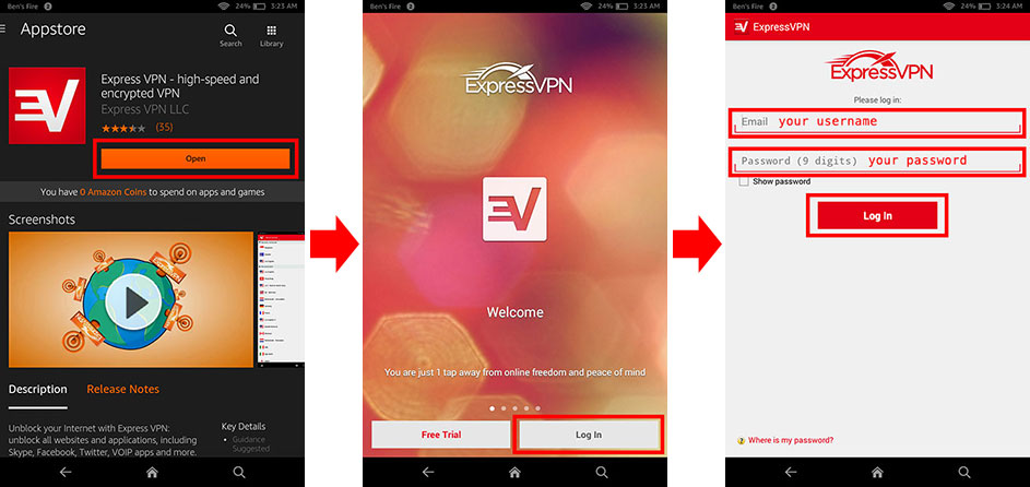 log in to expressvpn app