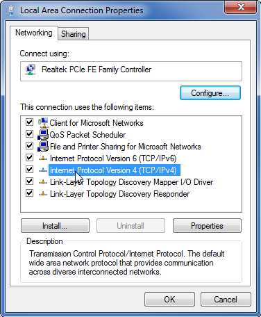 Windows local area connection properties window with Internet Protocol Version 4 selected.