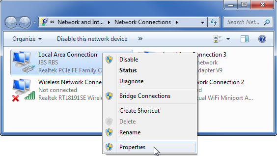 Windows Network Connections window with Properties selected.