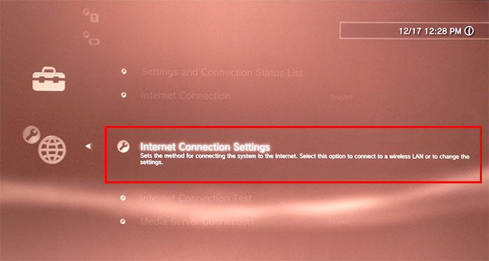 internet connection settings