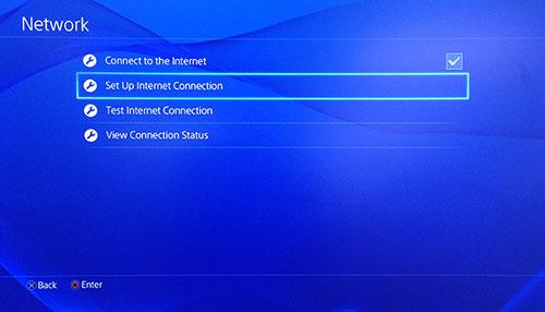 Écran Réseau PlayStation avec l'option Configurer la connexion Internet sélectionnée.