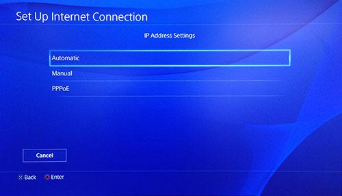 Schermata impostazioni indirizzo IP PlayStation con Automatico selezionato.