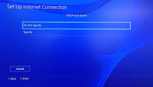 Seite der PlayStation DHCP Host Name mit Nicht angeben ausgewählt.