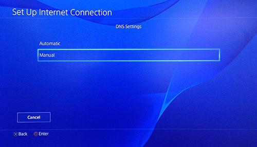 Seite der PlayStation DNS-Einstellungen mit manuell ausgewählt..