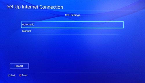 Schermata impostazioni MTU PlayStation con Automatico selezionato.