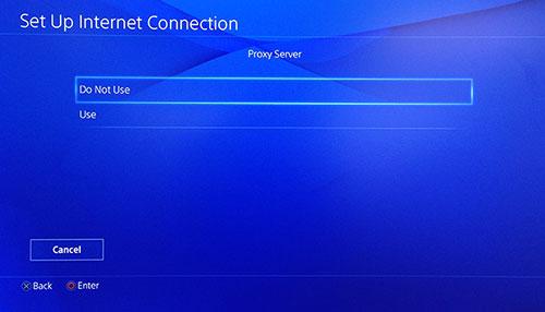 Bildschirm des PlayStation Proxy-Servers mit Nicht verwenden ausgewählt.