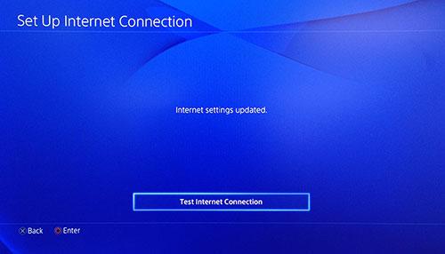 Schermata connessione internet PlayStation con Prova la connessione internet selezionato.