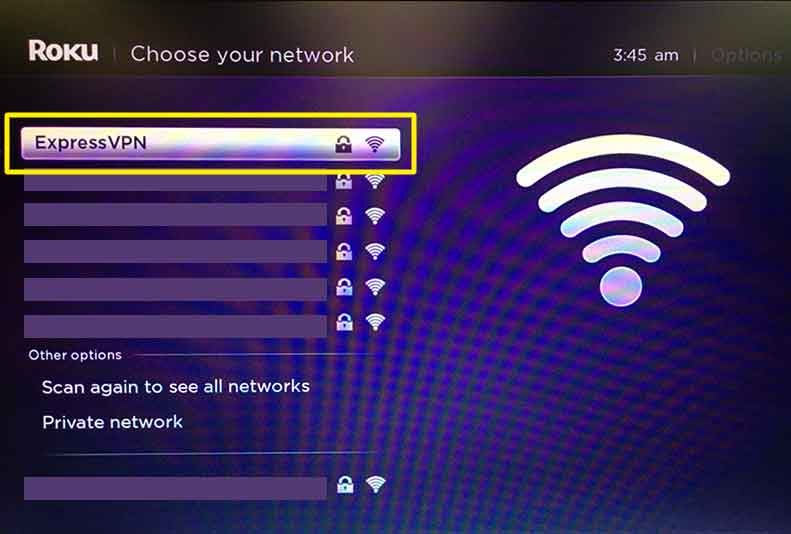 Roku menu highlighting a Wi-FI network named ExpressVPN.