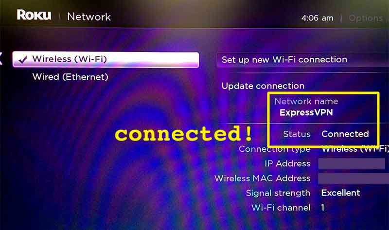 Roku Network menu showing ExpressVPN network connected.