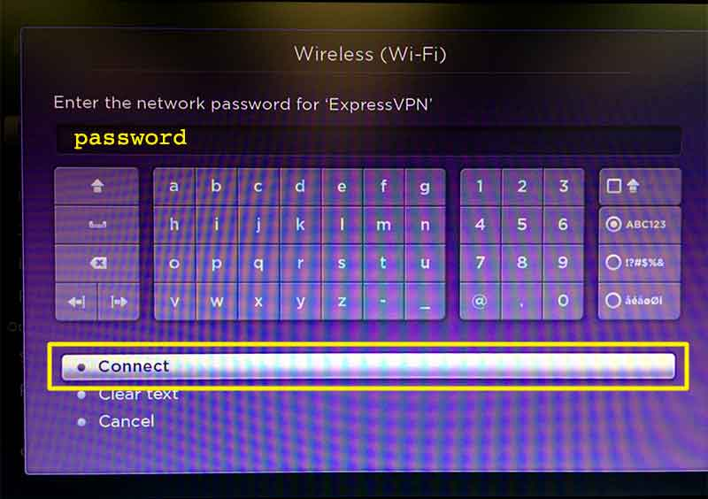 Roku password entry screen with Connect button highlighted.