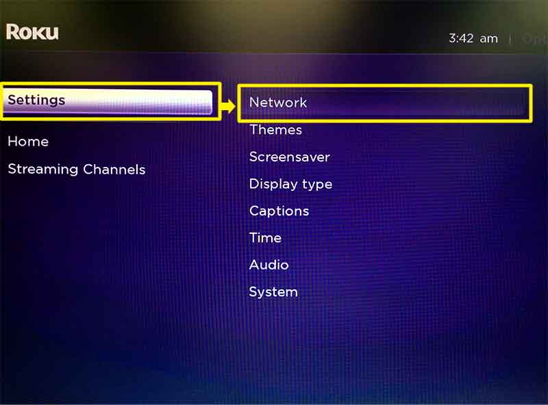 Roku menu with Settings and Network highlighted.