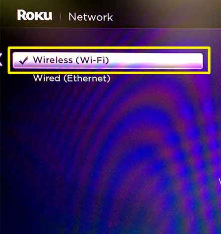 Roku menu with Wireless (Wi-Fi) selection highlighted.