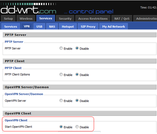 DD-WRT control panel with OpenVPN Client section highlighted