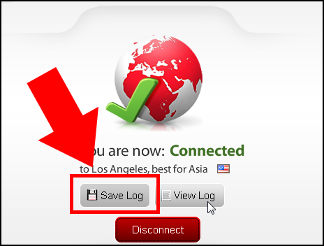 ExpressVPN with Save Log button highlighted.