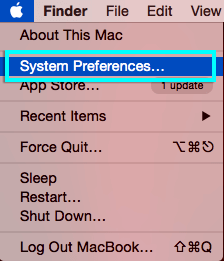 Apple menu with System Preferences... highlighted.