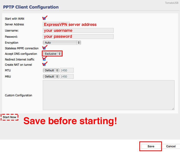 pptp client configuration