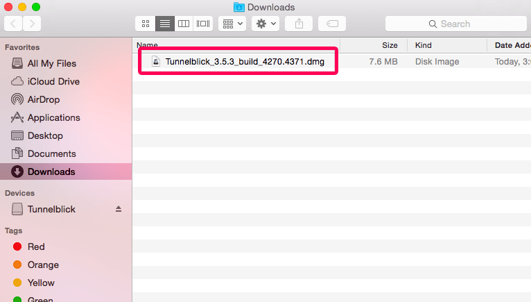 open the tunnelblick installer file