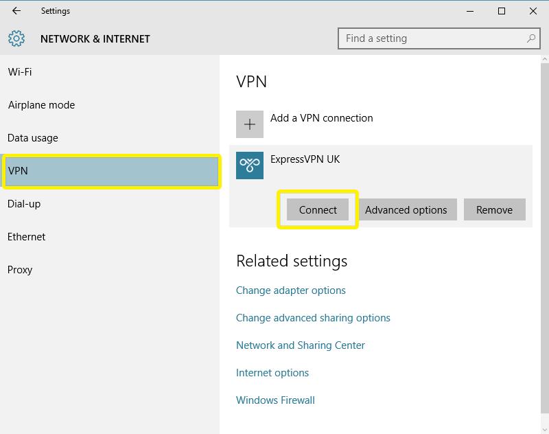 Manu Rete e Internet con la connessione ExpressVPN evidenziata.