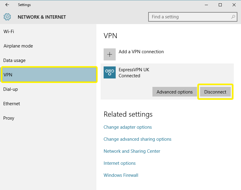 Menu Rede e Internet do Windows com VPN e Desconectar destacados.