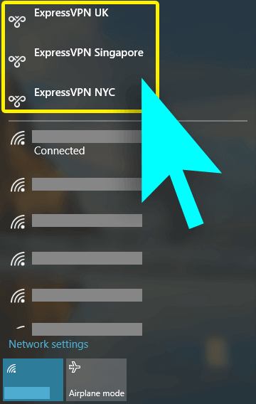 Internet access menu with ExpressVPN server locations highlighted.