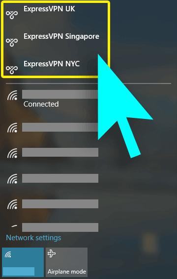 Menu di accesso a Internet con posizioni del server ExpressVPN evidenziate.