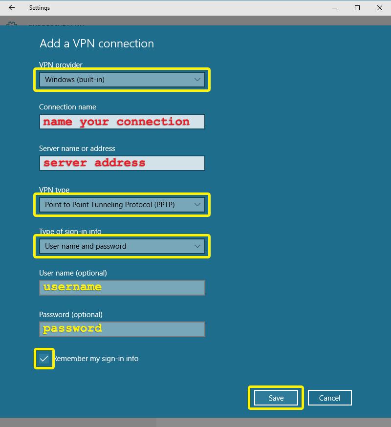 Menu Impostazioni di Windows con i campi rilevanti evidenziati.