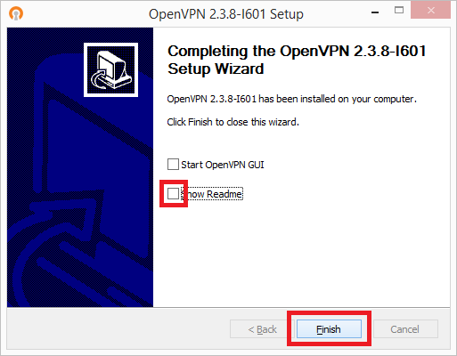 openvpn setup wizard finished for windows