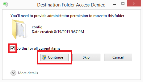 give permission to move into config folder