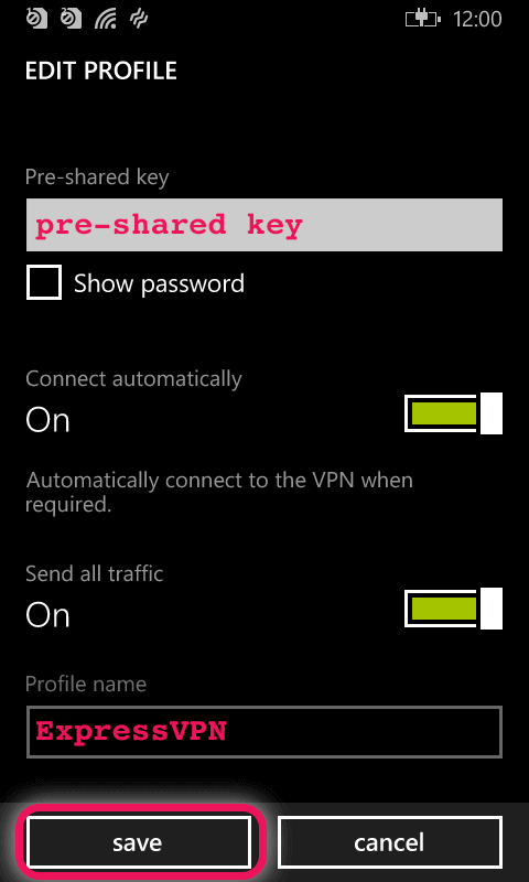 enter your preshared key