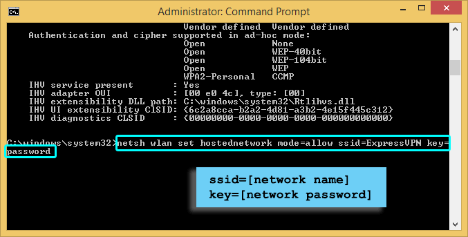 Windows command prompt showing network name and password.