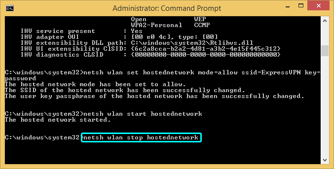 Windows command prompt with network stop command highlighted.