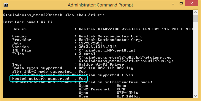 Windows command prompt with Hosted network supported: Yes highlighted.