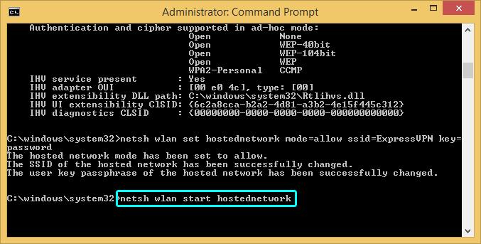 Command prompt showing network start command.