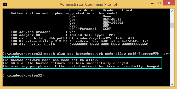 Windows command prompt showing successful network creation.