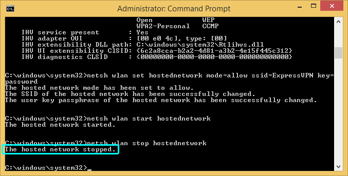 Windows command prompt with network stopped highlighted.