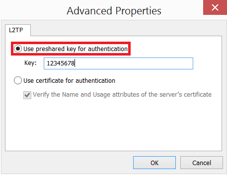enter preshared key for authentication